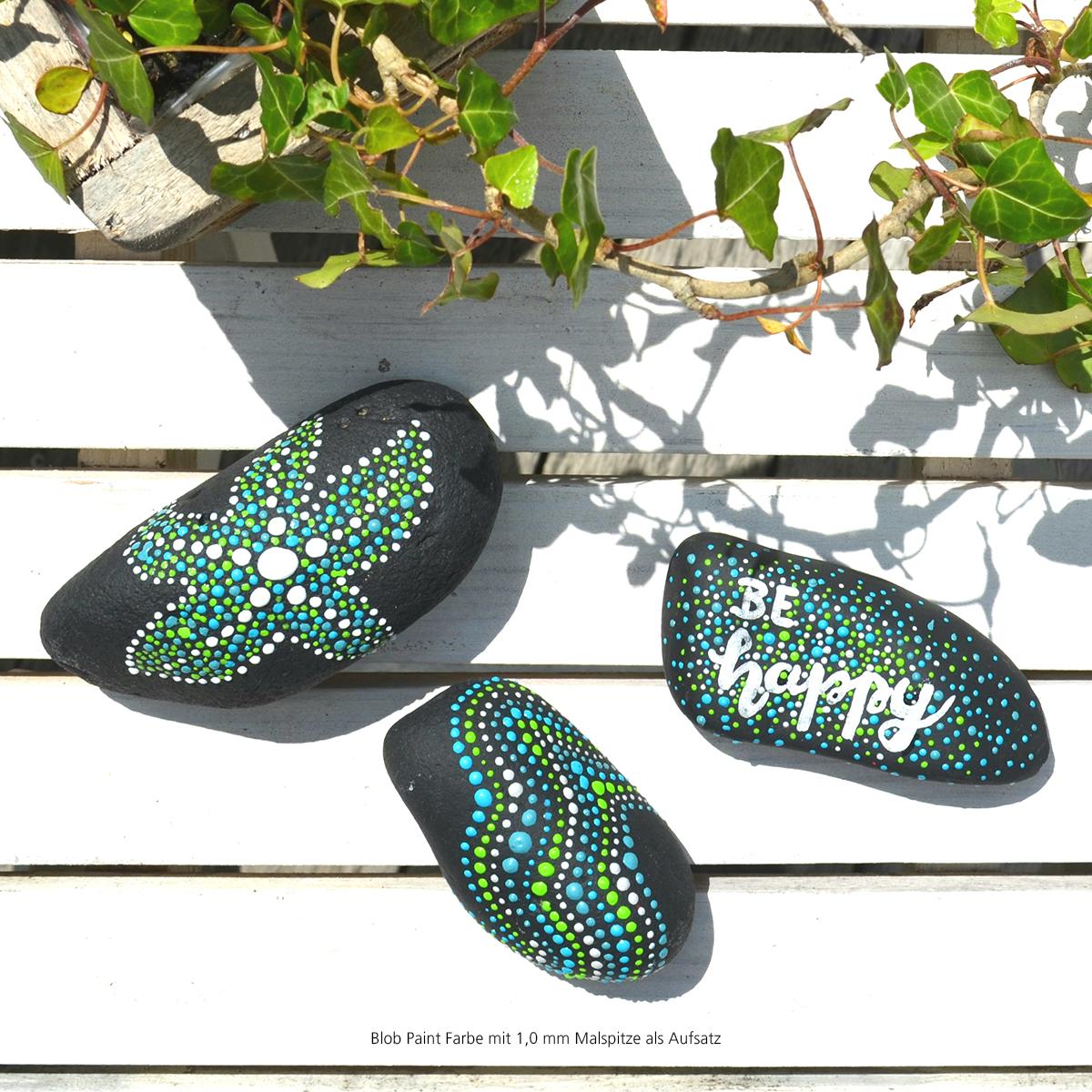Mit Blob Paint Steine bemalen - mit einer 1,0 mm Malspitze als Aufsatz