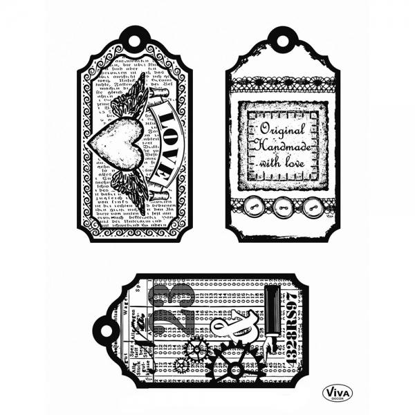 Clearstamps Etiketten Schildchen mit Herz im Vintage-Look zum Stempeln