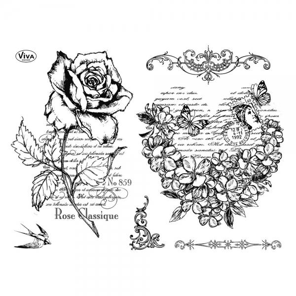 Clearstamps Silikonstempel mit Rosen und Blumenherz-Motiv, 2er Set