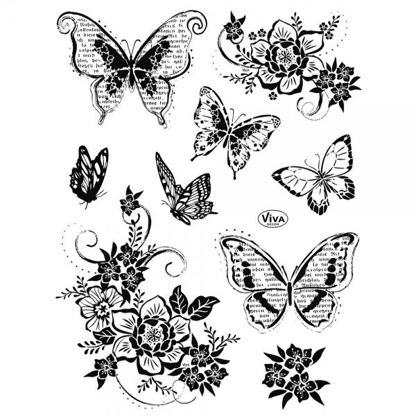 Clearstamps Schmetterline und Blumen in einer Stempelsammlung