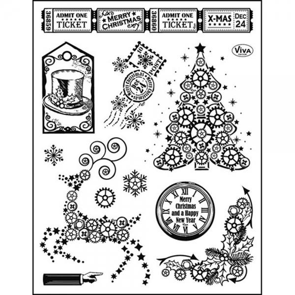 Clearstamps Steampunkt Weihnachtsmotiv-Set Tannenbaum