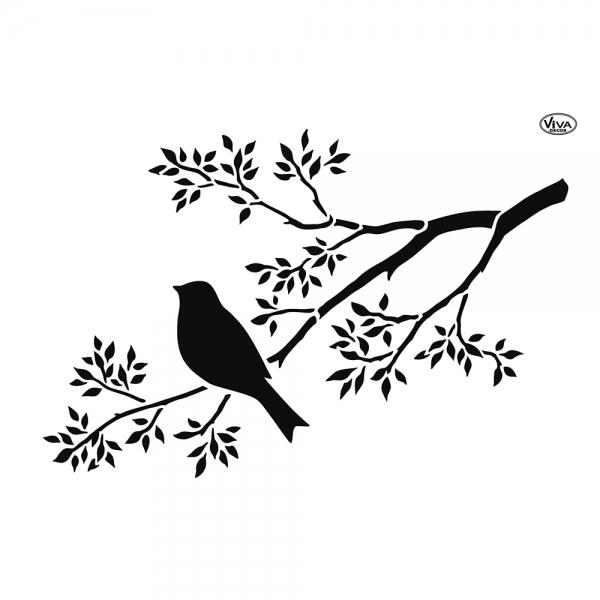 Universalschablone Vogel mit Ast