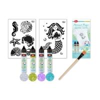 Mermaid Magic Kreativ-Set - Flyer, Pinsel, Schablonen und 4 Glitzer-Pens