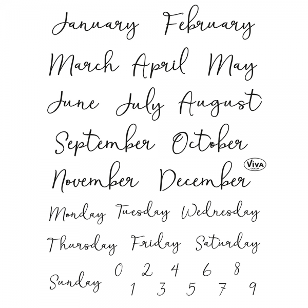 Clearstamps Monatsnamen für das Bullet Journaling in einer Stempel-Sammlung